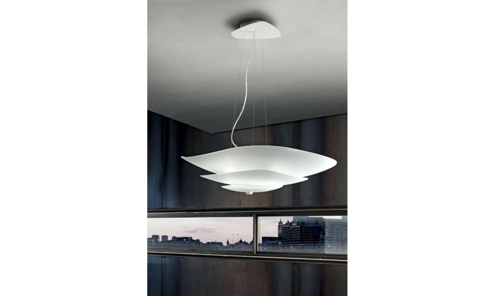 Lampada a sospensione linea light moderna in vetro serie moledro
