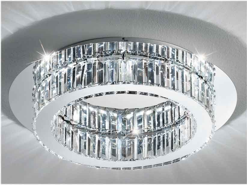 Eglo Plafoniere Led : Eglo corliano led ceiling lamp made with inox steel and crystal
