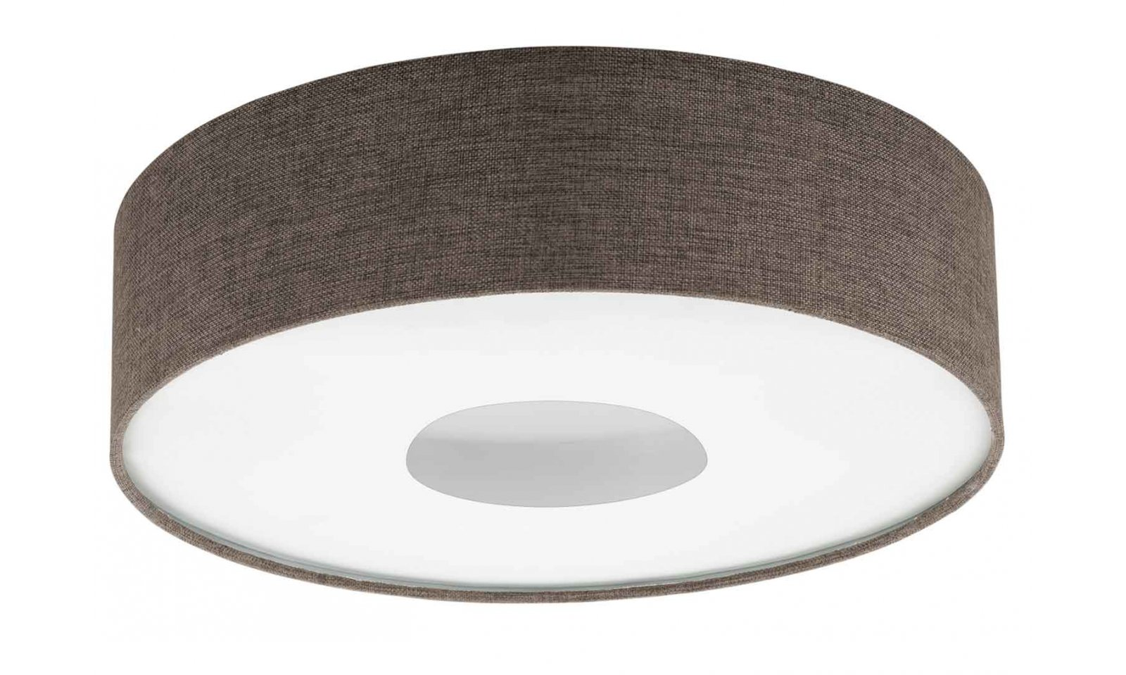 Eglo Plafoniere Led : Eglo romao 2 led ceiling lamp in steel and brown fabric lampshade