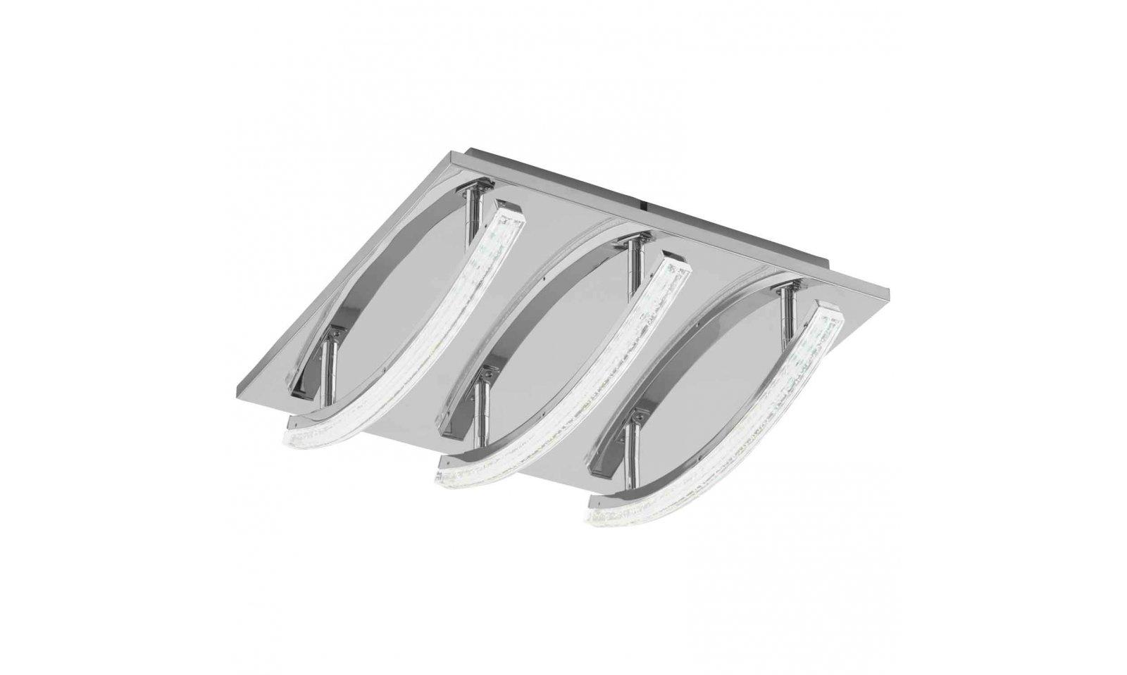 Eglo Plafoniere Led : Eglo pertini led plafoniera in acciaio cromato e diffusore plastica