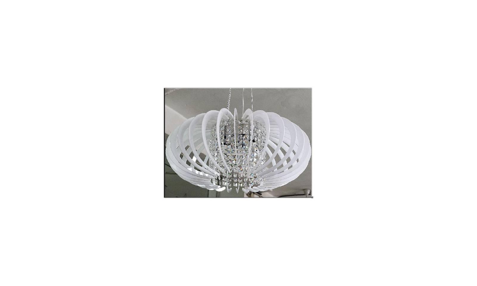 Lampadario Bianco E Cristallo : Lampadario in plexiglass per cameretta colorato bianco con cristalli