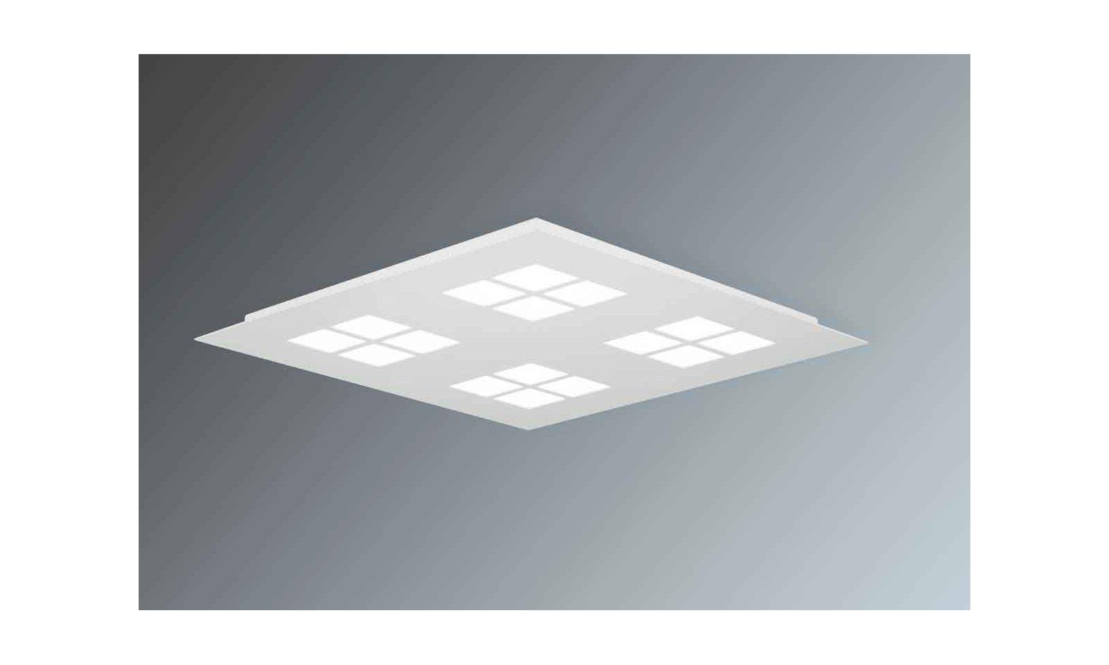Plafoniera Led Quadrata : Lam delta quadrata led in alluminio e pmma bianco