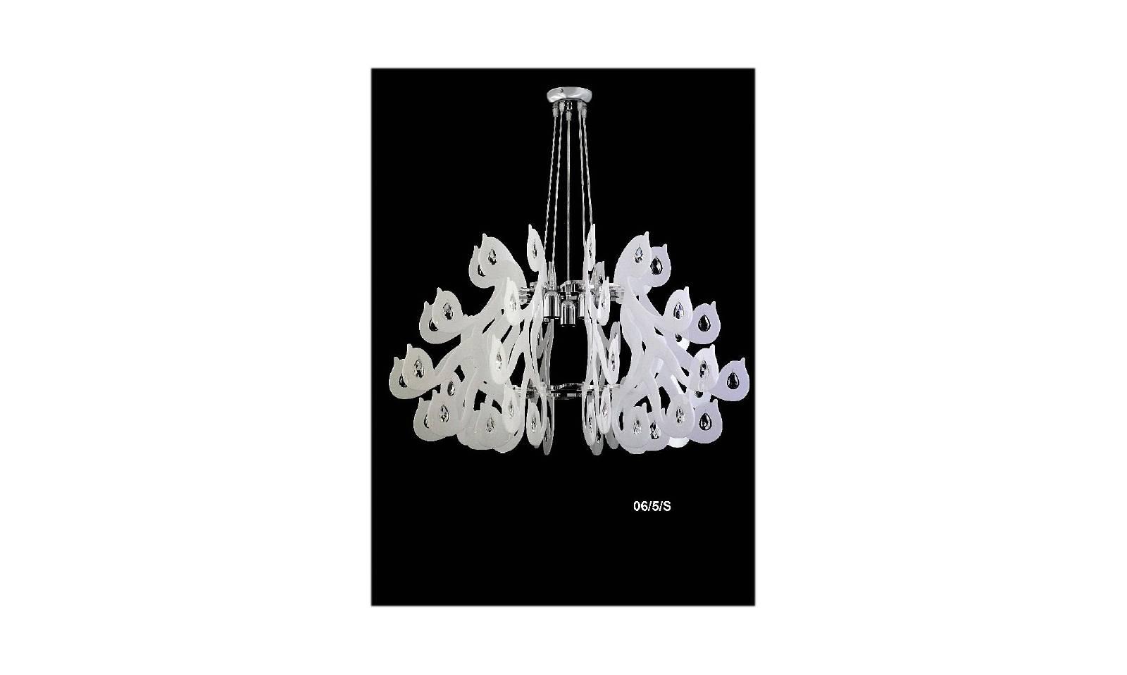 Lampadario in plexiglass per cameretta colorato bianco con cristalli