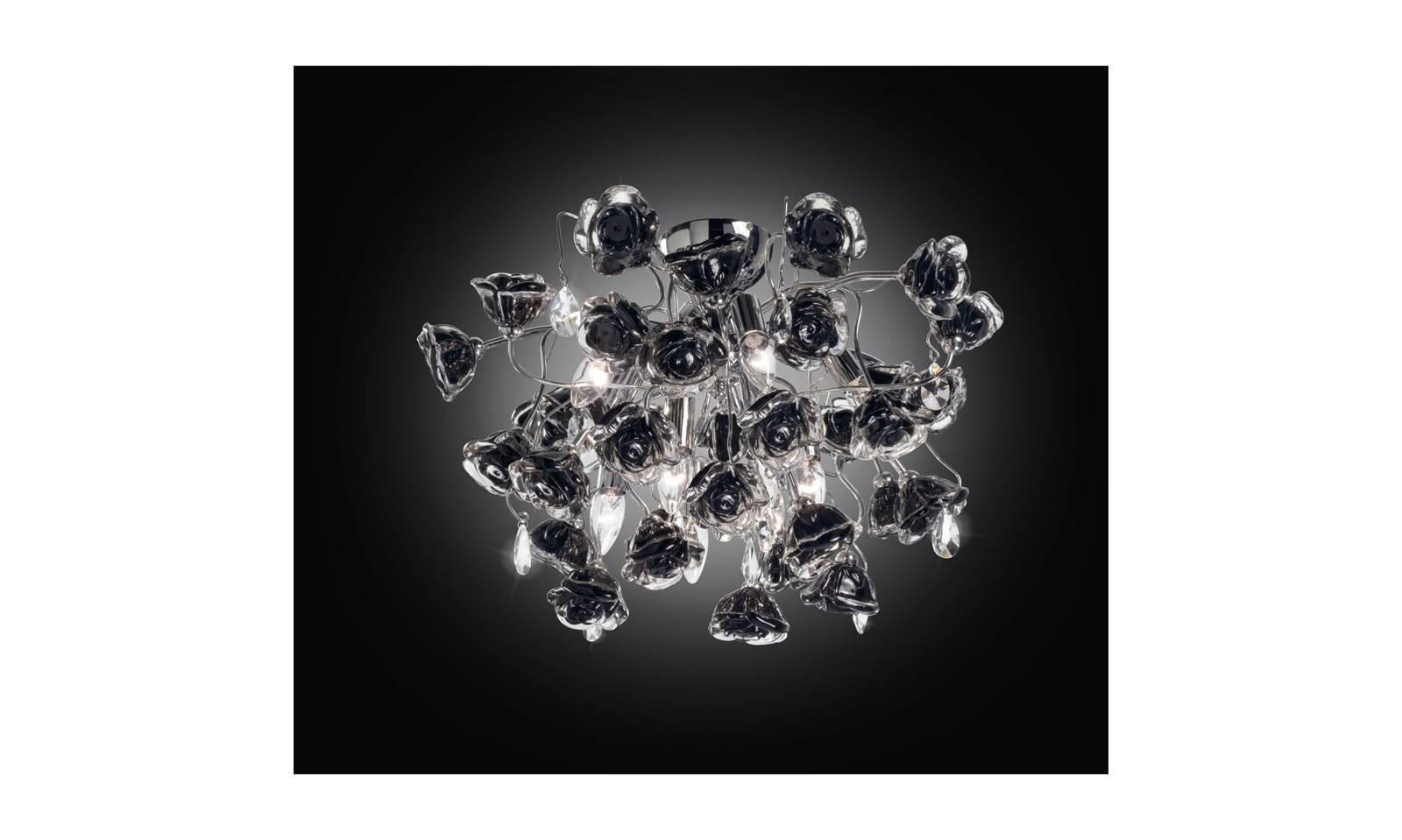Plafoniere Con Pendenti : Plafoniera bouquet con rose nere in vetro e pendenti cristallo