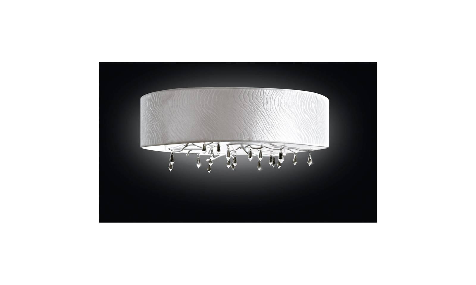 Plafoniere Moderne In Tessuto : Plafoniera con montatura bianco anticato cristalli e paralume tessuto