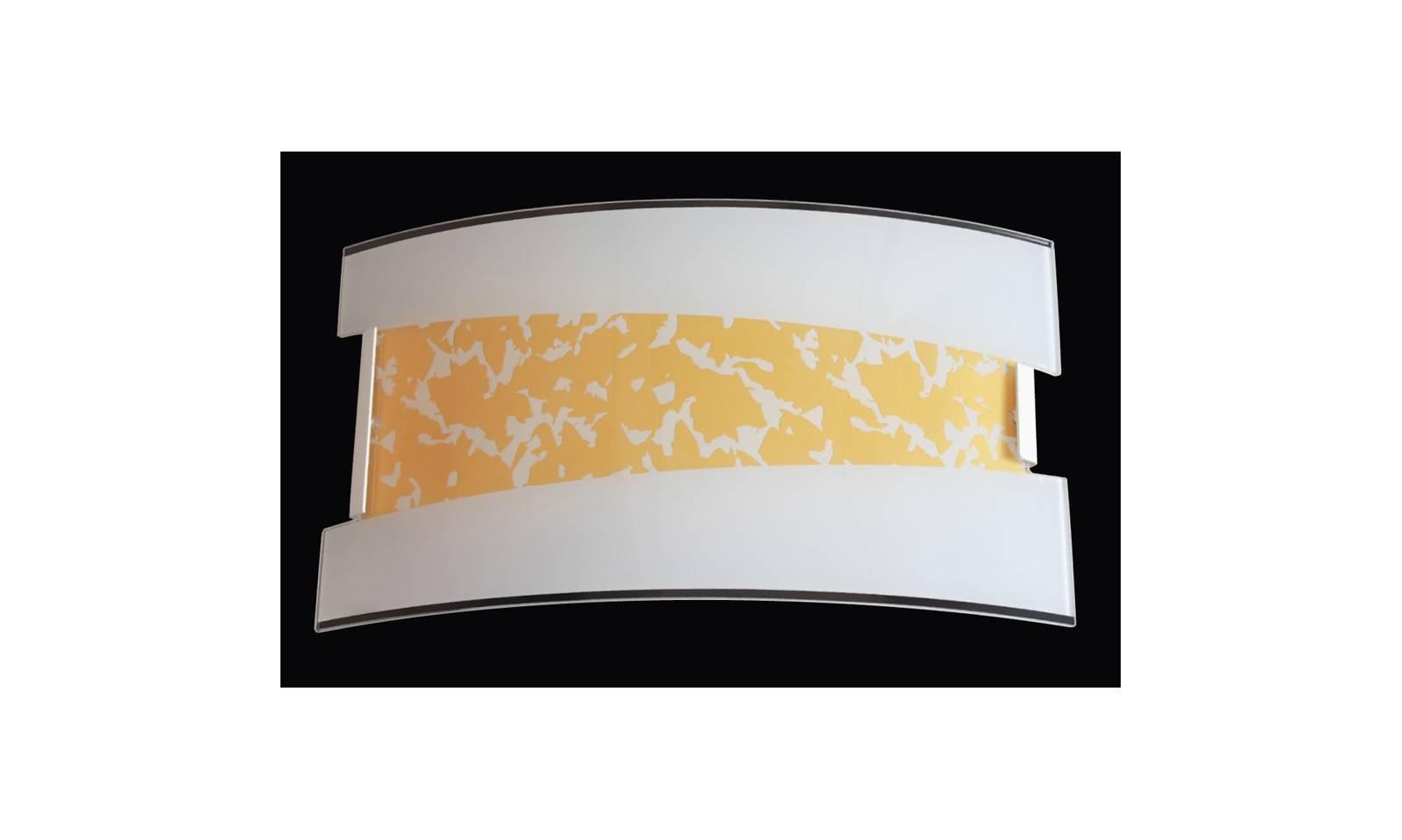 Applique con montatura in metallo e vetro serigrafato in oro