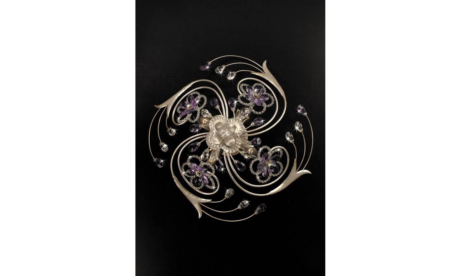 Plafoniera Fiori Lilla : Grazioso illuminazione plafoniera 4 luci diametro 50cm foglia argento