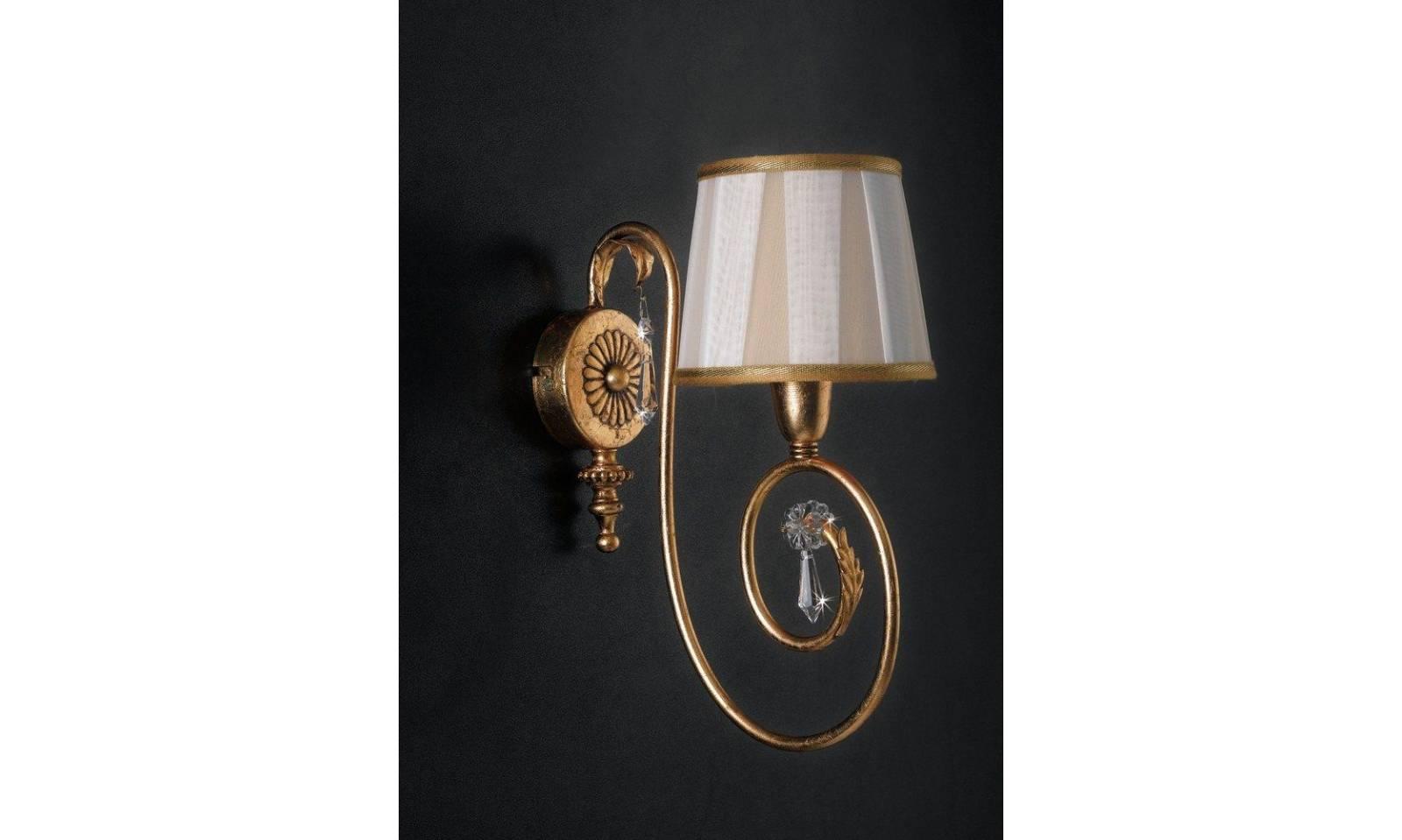 Applique classico 1 luce in foglia oro con paralume e cristalli