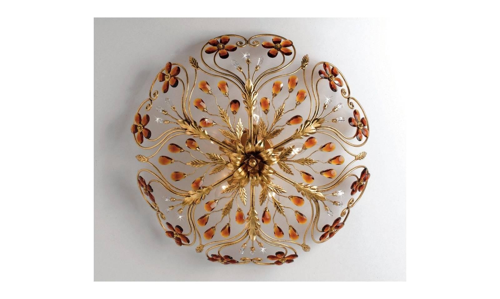 Plafoniera classica 5 luci in ferro battuto foglia oro con cristalli