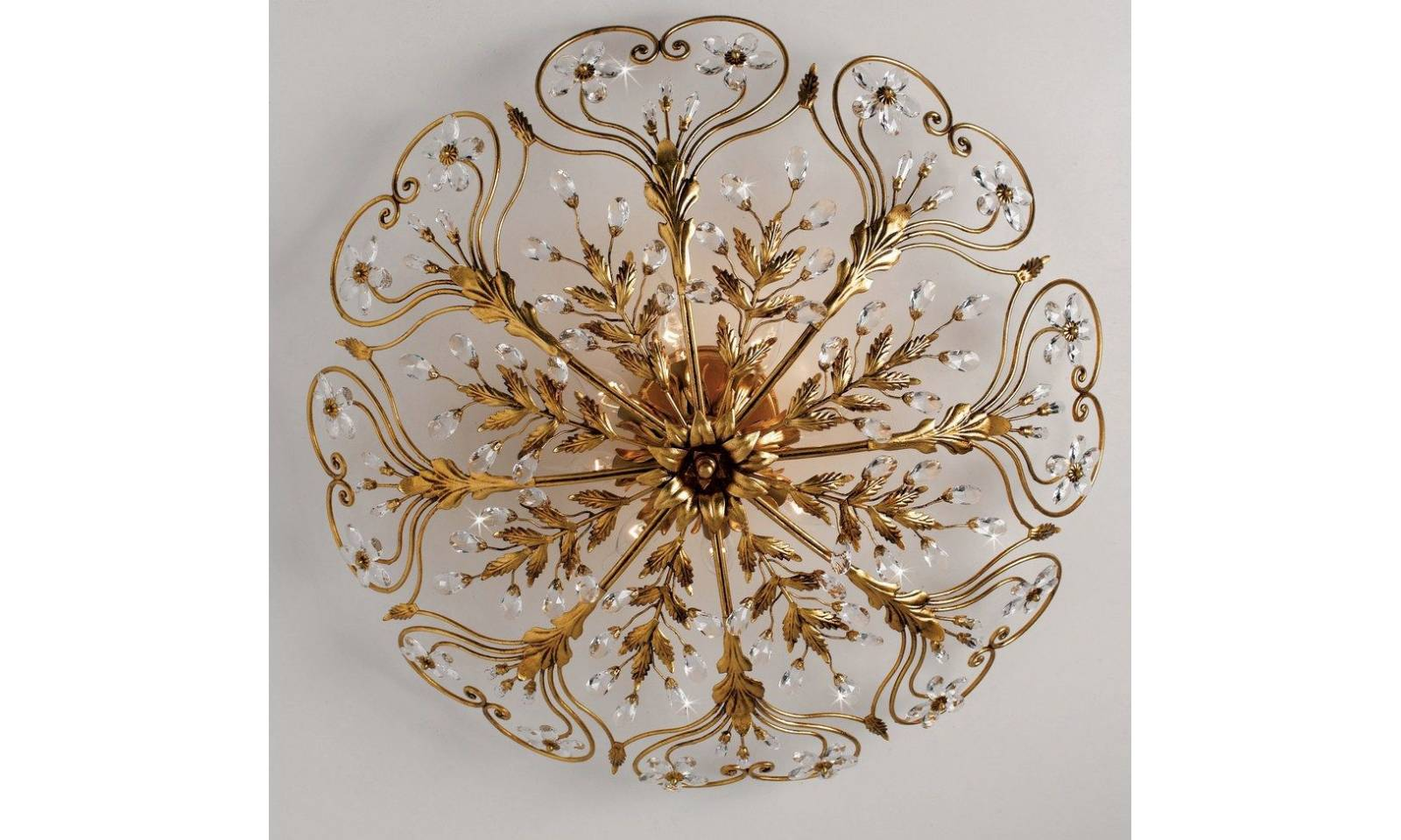 Plafoniera classica luci in ferro battuto foglia oro con cristalli