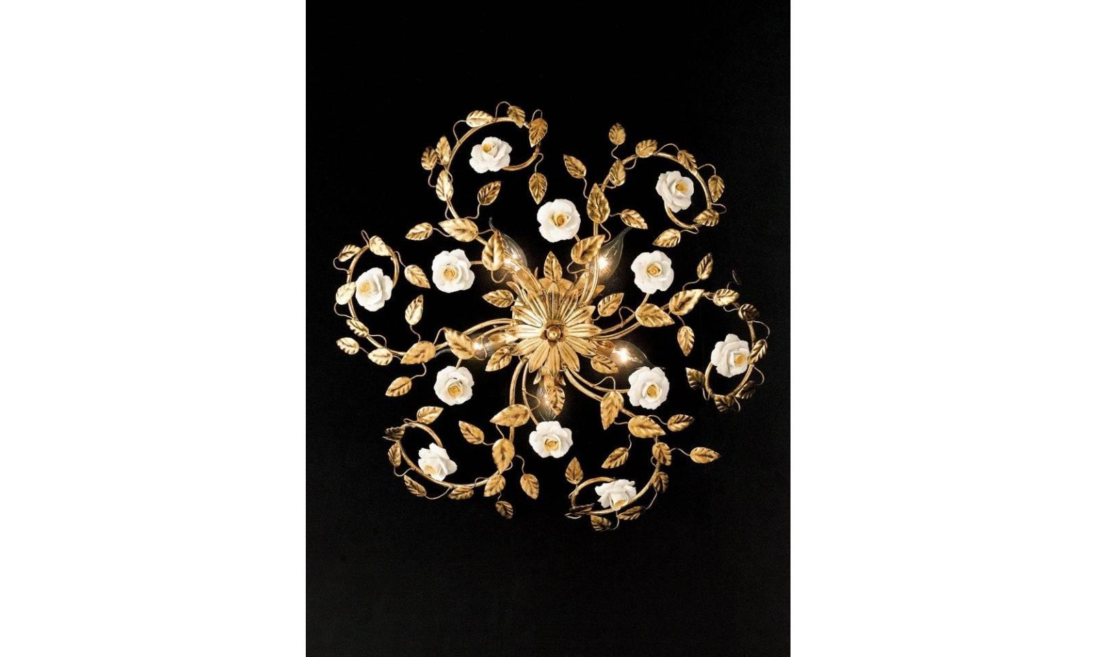 Plafoniere Con Foglie : Plafoniera classica luci in foglia oro con rosette porcellana