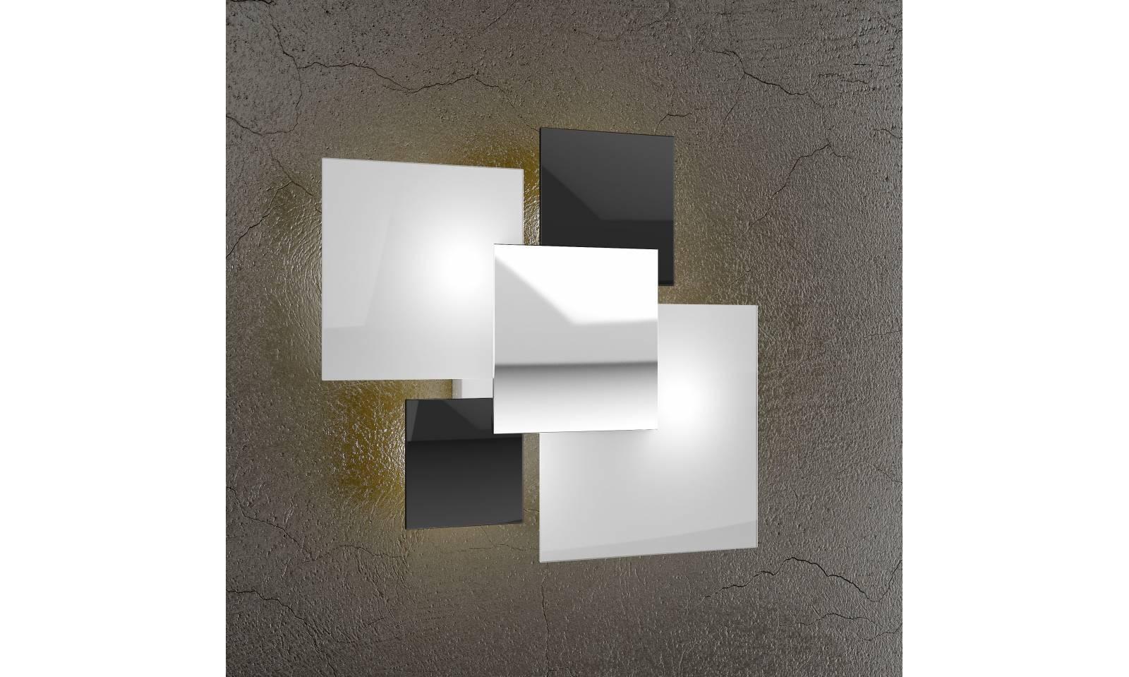 Plafoniera Quadra Led 63 : Plafoniera serie shadow luci Ø cm con vetro in diverse finiture