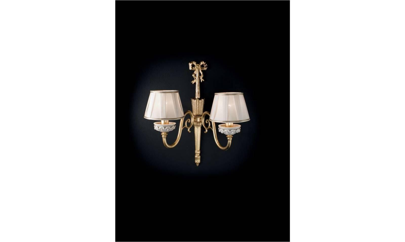 Applique luci serie fanny in ottone e limoges particolari oro