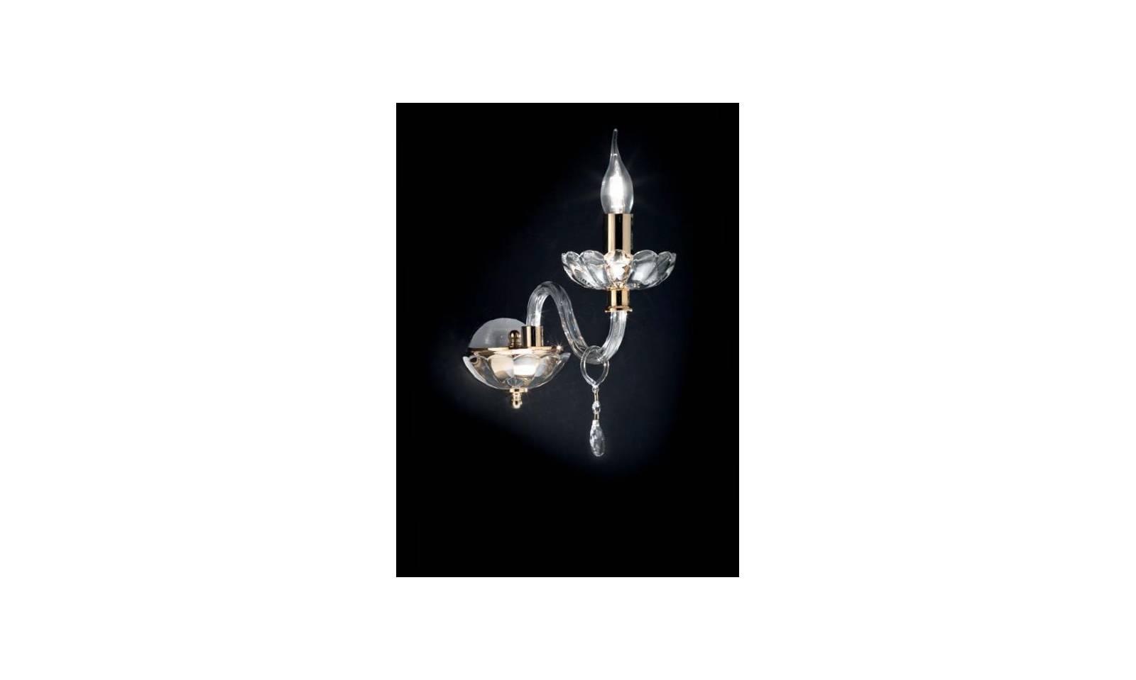 Appllique 1 luce con braccio in cristallo e vetro con finiture in oro