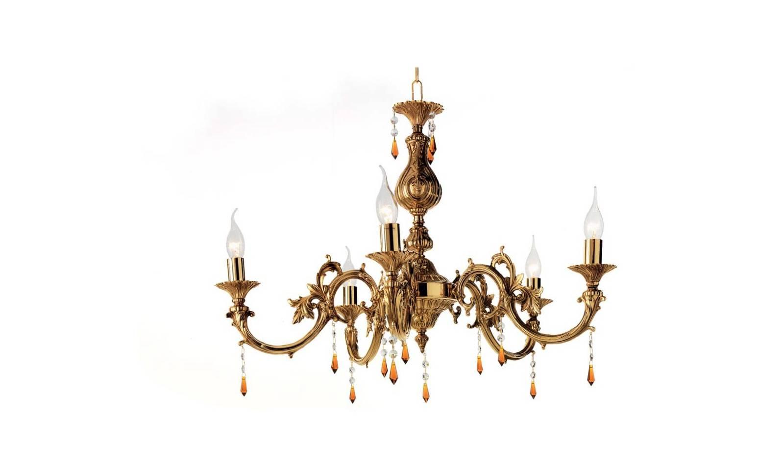 Sospensione luci in ottone con finiture oro francese classico