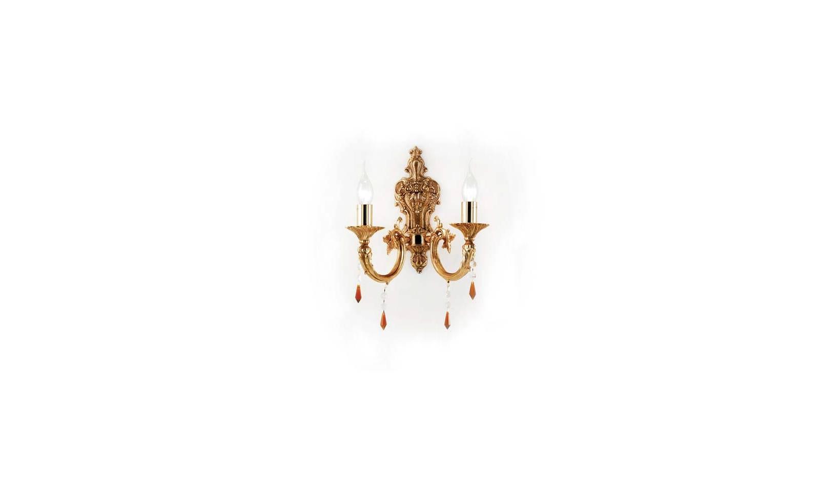 Applique luci ottone con finiture oro francese classico